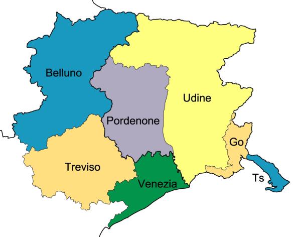Cartina Friuli Venezia Giulia Province.Storia Banco Alimentare